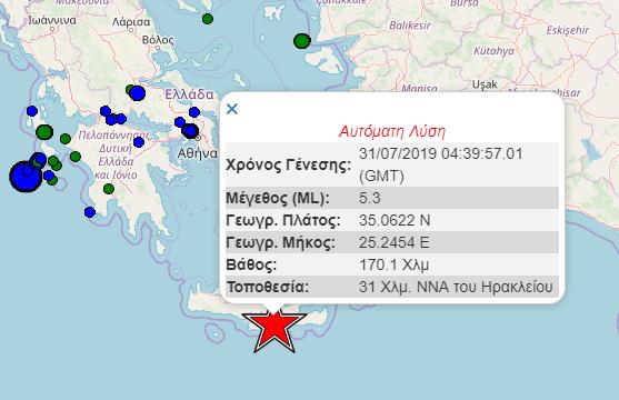 Ισχυρός σεισμός με επίκεντρο στο Ηράκλειο, έγινε αισθητός σε όλη την Κρήτη